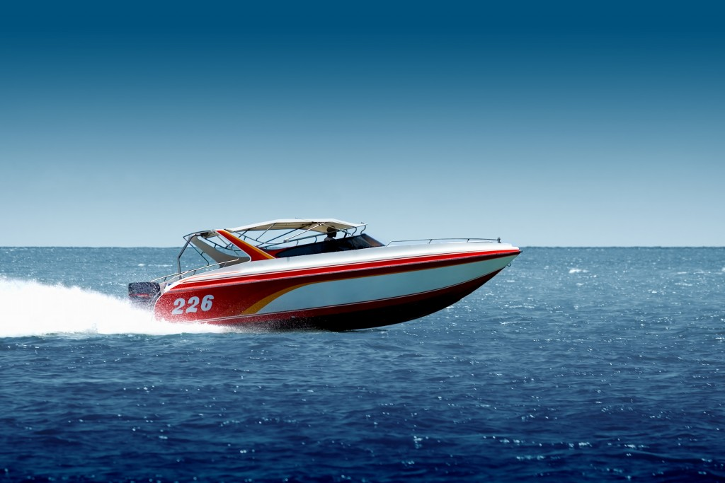 Speedboat cruising in the sea